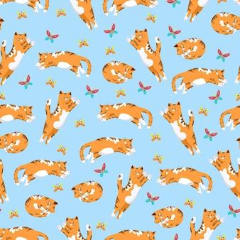 動物とフラットなスタイルのベクトルの背景の猫と蝶のシームレスなパターン