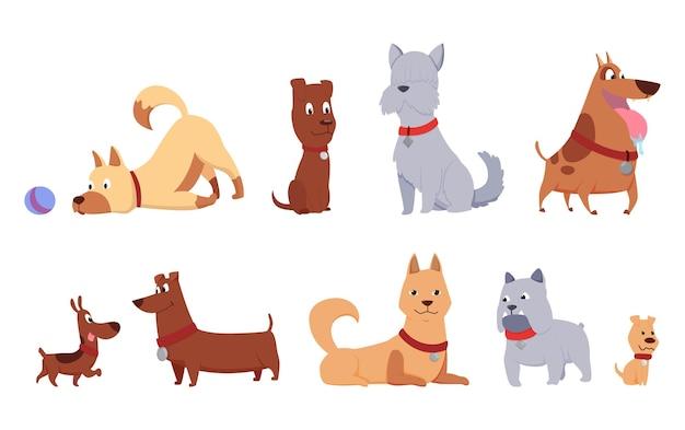 猫と犬の友達コレクション。一緒に座って、横になって、遊んで、または白い背景で隔離の歩行のさまざまな種類。面白いフラット漫画カラフルな友情ペットセット。ベクトルイラスト