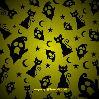할로윈 고양이와 유령 패턴