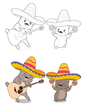 Cats are enjoying with music cartoon coloring page for kids