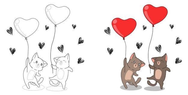 고양이는 아이들을위한 하트 풍선 만화 색칠 공부 페이지를 들고 있습니다.
