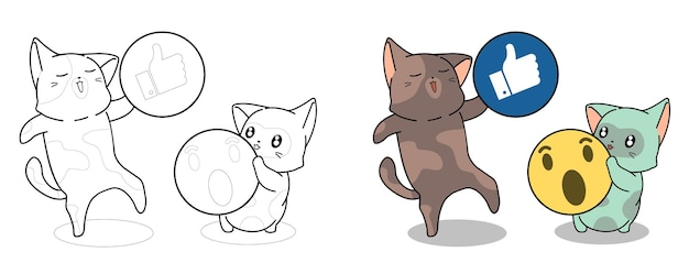 Cats are holding icon cartoon coloring page for kids