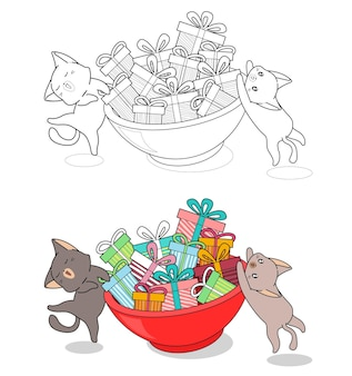 Cats are lifting big bowl cartoon coloring page for kids