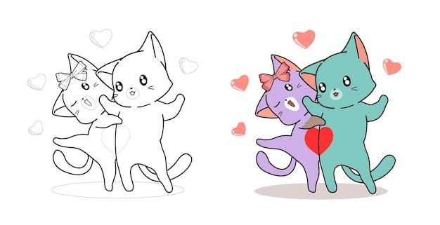 Кошки - любовники легко мультяшные раскраски для детей