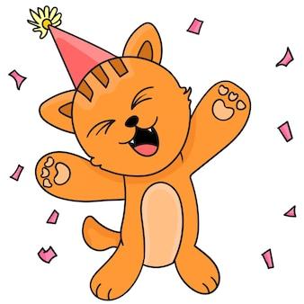 고양이들이 신나게 파티를 하고 있습니다. 만화 삽화 스티커 이모티콘