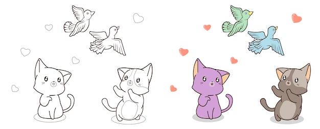 猫は鳥の漫画の着色のページを見ています