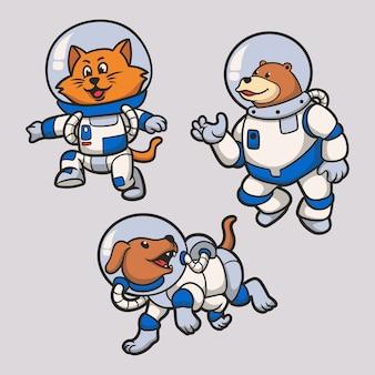 고양이, 곰 및 개가 우주 비행사가되고 있습니다 동물 로고 마스코트 일러스트 팩