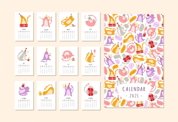 Cats birthday party calendar 2021 - funny kitten in festive hat, gift boxes and presents, birthday cake and drinks