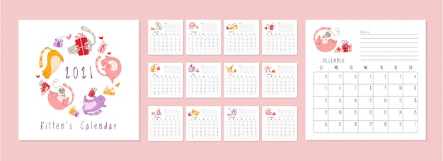 猫の誕生日パーティーカレンダー2021-お祝い帽子、ギフトボックス、プレゼント、誕生日ケーキ、ドリンクで面白い子猫