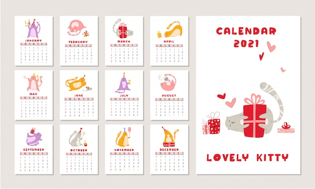 Cats birthday party calendar, funny kitten in festive hat, gift boxes and presents, birthday cake and drinks