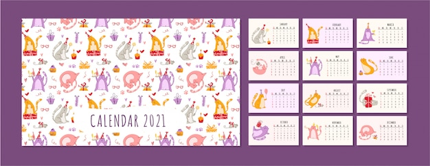 Cats birthday party calendar funny kitten in festive hat, gift boxes and presents, birthday cake and drinks