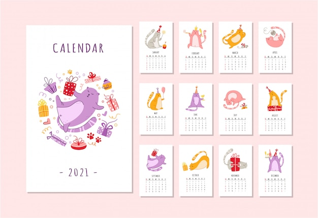 Cats birthday party calendar funny kitten in festive hat, gift boxes and presents, birthday cake -