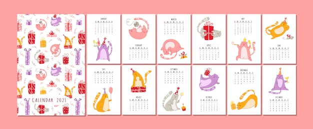 Cats birthday party calendar  - funny kitten in festive hat, gift boxes and presents