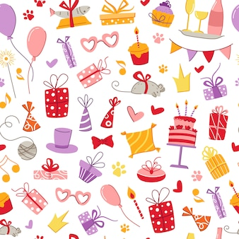 猫の誕生日パーティーペットアクセサリーシームレスパターン-ギフト用の箱、食品、枕、魚、マウス