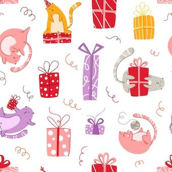 Бесшовный фон с днем рождения кошки - забавный котенок в праздничной шапке, подарочные коробки и подарки, серпантин - векторная текстура