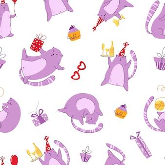 День рождения котов бесшовный фон - забавный котенок в праздничной шапке, подарочные коробки и подарки, вектор бесконечная текстура