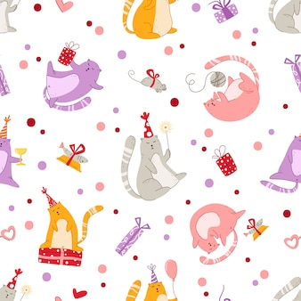 Cats birthday party seamless pattern