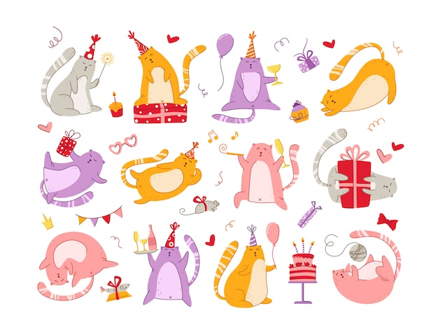 Cats birthday party set - funny kitten in festive hat, gift boxes and presents, birthday cake