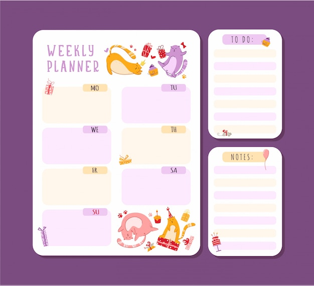 Cats birthday weekly or daily planner with notes and to do list. personal stationery organizer