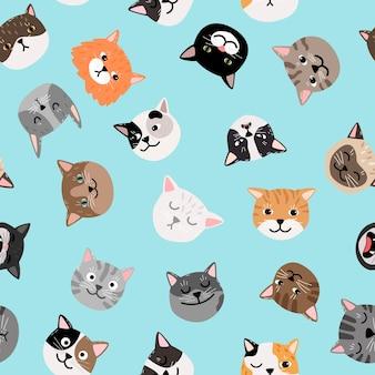 猫の文字パターン。かわいい猫はシームレスなパターンに直面し、色の塗られた子猫のベクトルテクスチャ