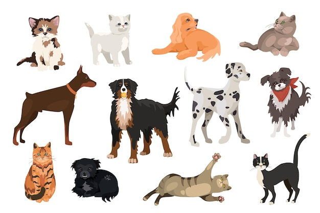 Cats and dogs design elements set. collection of pets of different breeds, doberman, mountain dog, dalmatian, playful kittens and puppies. vector illustration isolated objects in flat cartoon style