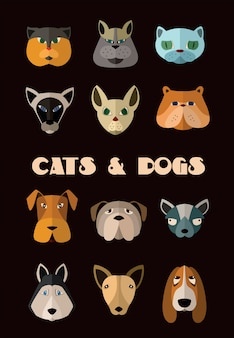 Cats and dogs heads set