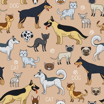 Cats and dogs seamless pattern