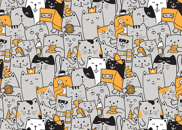 The cats doodle pattern,