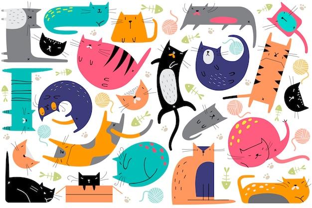 고양이 낙서 세트. 창의적인 유치 패턴의 컬렉션은 다른 포즈에서 동물 고양이 새끼 고양이 애완 동물을 길들여졌습니다. 아이들을위한 인간의 친구 매끄러운 질감 그림입니다.