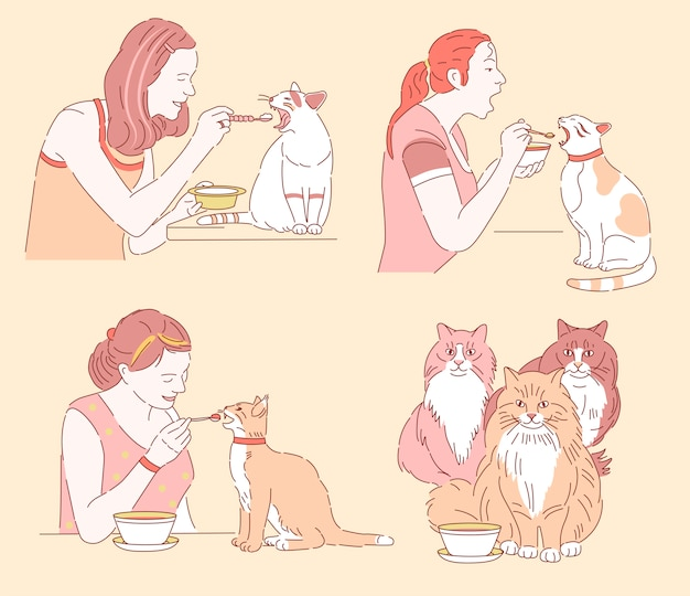 Cats eat with a spoon