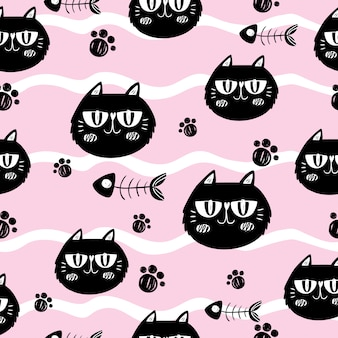 Cats and fishbones on pink background