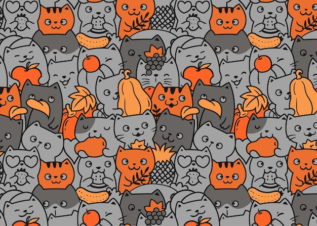 Cats and fruits doodle pattern background