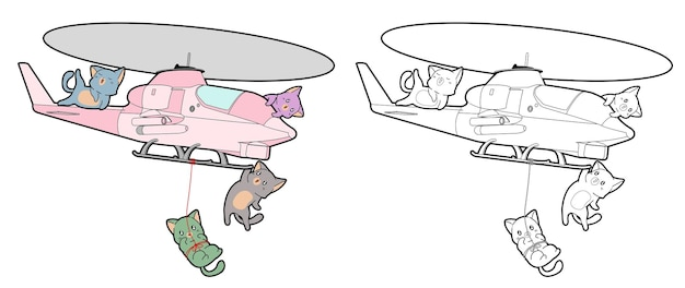 Cats and helicopter cartoon coloring page