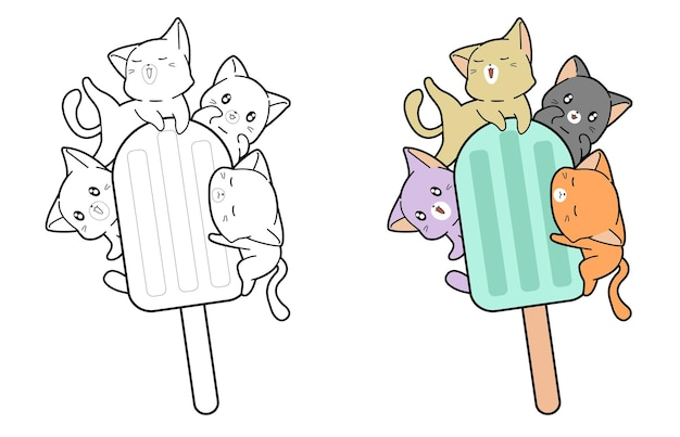 Cats and ice cream bar cartoon coloring page for kids