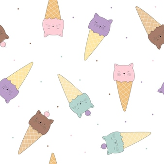 Cats in ice cream cones vector seamless pattern funny kittens backdrop childrens vector pattern