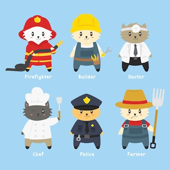 작업자 유니폼 벡터 컬렉션에 고양이