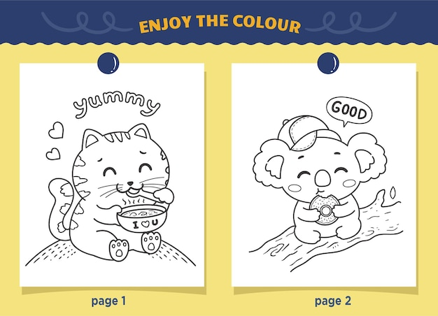Cats and koalas eating coloring for kids