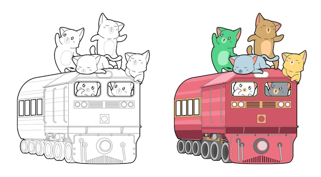 Cats on the locomotive cartoon coloring page for kids