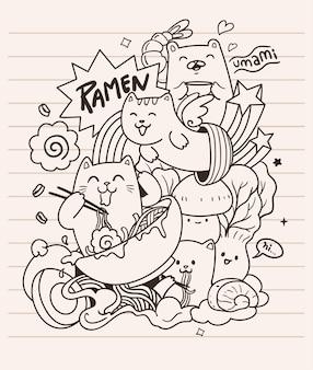 Cats love ramen noodles doodle