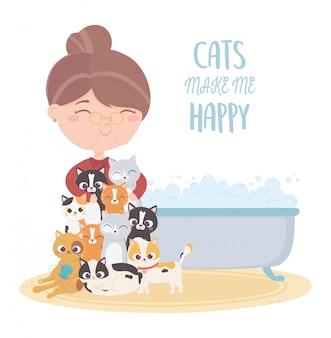 猫は私を幸せにし、浴槽を持つ老woman猫
