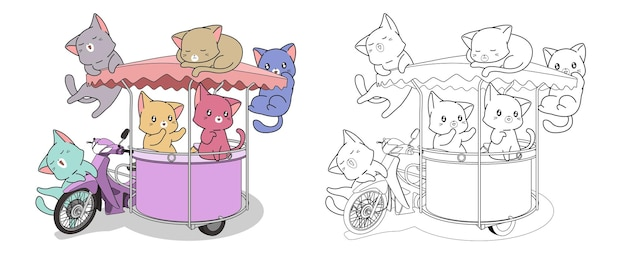 Cats and motorcycle with side car cartoon coloring page