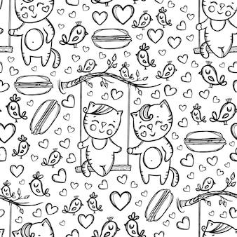 バレンタインデーの漫画の手描きのモノクロのシームレスなパターンで自然の中で休んでいるスイング子猫と彼のガールフレンドの猫