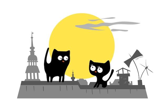 街の屋根の上の猫。チャンスミーティング。