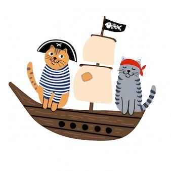 Кошки пираты на корабле
