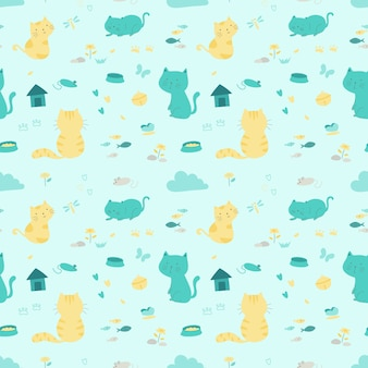 Cats in relax action cartoon design seamless pattern.