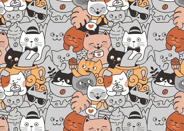 Cats relax in cafe doodle pattern background