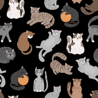 猫のシームレスなパターン。短い髪の猫のセットパターン、漫画の子猫のシームレスな印刷ベクトルデザイン、黒の背景に猫の猫のかわいいテクスチャ
