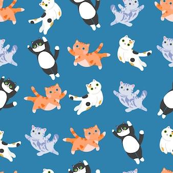 고양이 새끼 고양이와 고양이 원활한 패턴 삼색 고양이 얼룩 무늬 고양이 스톡 벡터 seamles 패턴