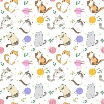 Cats seamless pattern.