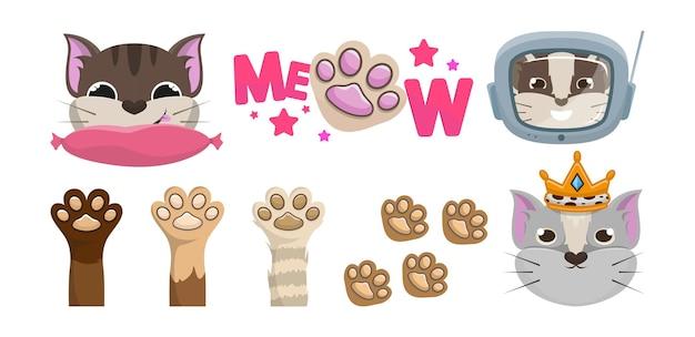 Cats set. meow. paws